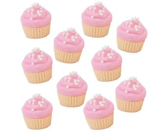 Mini Light Pink Vanilla Fondant Cupcakes - tiny pastel pink edible sugar cupcakes for decorating cupcake, cakes, and cookies