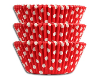 Red Polka Dot Baking Cups - 50 paper cupcake liners