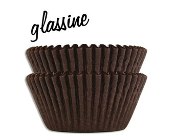 Brown Glassine Baking Cups - 50 solid chocolate brown paper cupcake liners