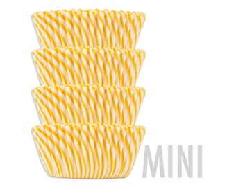 Mini Yellow Candy Stripe Baking Cups - yellow stiped cupcake liners, cupcake papers