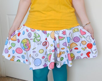 10 Dollars Off SALE - Candy Sweets Skater Skirt - Colorful Rainbow Candy Pattern Skirt - One Size Fits Most Skater Skirt