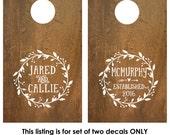 Corn Hole Board Decal   Rustic Wedding   Cornhole Board Monogram Decal   Cornhole Decal   Personalized Cornhole Game Decal