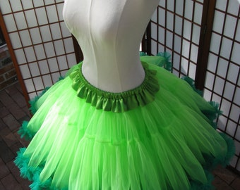 Petticoat Chartreuse Green Organdy with Kelly Green Chiffon Size Large Custom