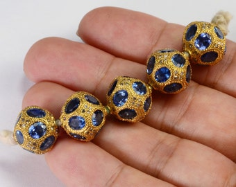 12.5MM 18k Solid Yellow Gold Natural Blue Sapphire Diamond Spacer Pendant Bead