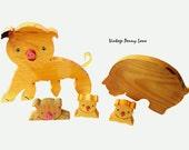 Vintage Carved Wood Pig Figurines / Display