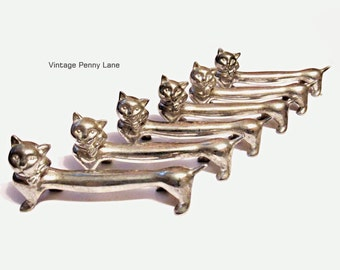 Vintage Silver Plated Cat Figurines, Long Bodies, Lot of 6