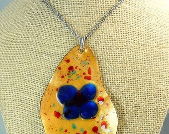 Mid Century Enamel On Copper Pendant Necklace Statement Jewelry