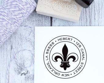 Return Address Stamp, Custom, Fleur de Lis, Housewarming Gift, Wooden Stamp, Self Inking Stamp, Rubber Stamp, Louisiana, French, New Orleans