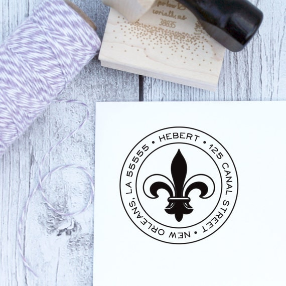 Return Address Stamp, Custom, Fleur de Lis, Housewarming Gift, Wooden Stamp, Self Inking Stamp, Rubber Stamp, Louisiana, French, New Orleans