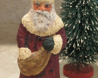 Paper mache Red Santa Tree Topper