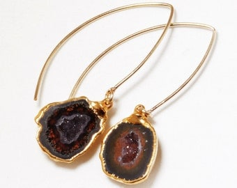 Agate Half Geode Druzy Earrings 24K Gold Dipped Marquise Raw Stone Earring One of a Kind HG-E-101-M-023g
