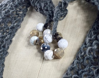 Wearable Fiber Art, Mindful Wrap-Faceted Agate Beads on a Lusicious Gray Cotton and Linen Mindfulness Mantle