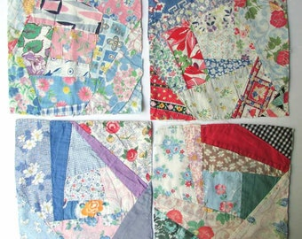Vintage 1940's Feed Sack Fabrics Patchwork Crazy Quilt  Pattern 8 Inch. Quilt Squares for Creative Uses, Recycled Quilt, Group of 4