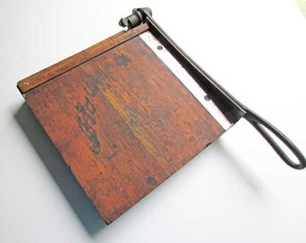 Antique 1900 Vintage Small Size Wood and Iron Paper Trimmer, Paper Cutter for Paper Crafts, Print Shop, Photo Studio, Office, Vintage Supply