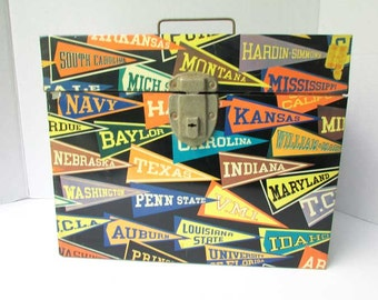 Vintage 1960 Colorful College Banners Imagery Metal File Size Box for Papers Small Item Storage for your Dorm Room, Vintage Office, Studio