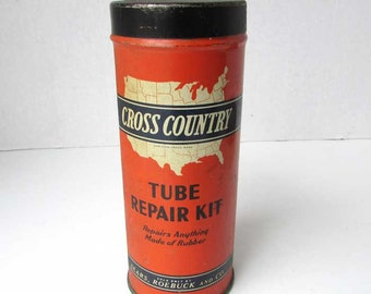 1940's Vintage Cross Country Tube Repair Kit Lithographed Automobile Tires Tin Box, Contents, Sears Rosebuck, Auto Parts Industrial tin