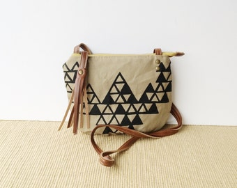 date purse  • small crossbody purse - geometric triangles • khaki canvas - hand screenprinted - brown waxed canvas • vukani