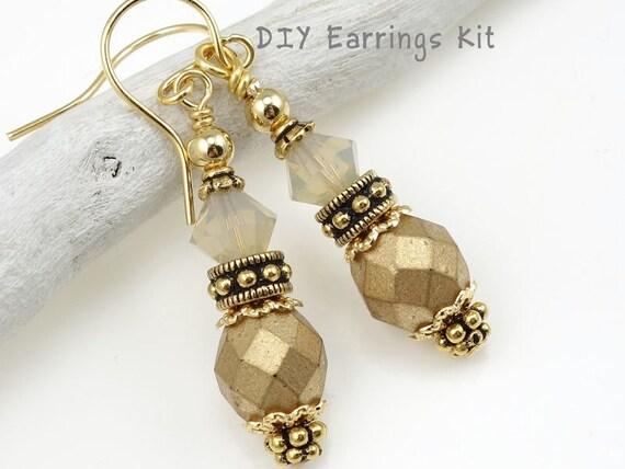 Do It Yourself Jewelry: DIY Earring Kit Gold Earrings Jewelry Kit Do It Yourself