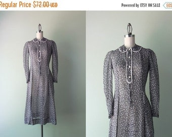 STOREWIDE SALE 1930s Dress / Vintage 30s Sheer Black and White Floral Dress / Lace Trimmed Peter Pan Collar 1930s Dress