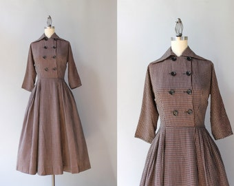 1950s Dress / Vintage 50s Double Breasted Day Dress / Soft Cotton 1940s Dress