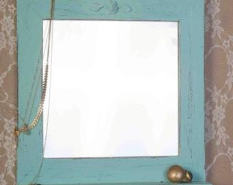 Light Blue Shabby Chic Wooden Mirror, Vintage mirror, wall mirror