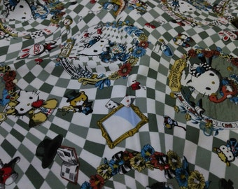 Half Yard Japanese Cotton Fabric Hello Kitty Alice in Wonderland