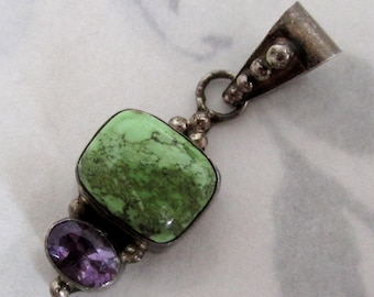 sterling silver 925 genuine green turquoise and faceted amethyst pendant - s33