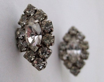 vintage prong set rhinestone navette marquise harlequin shaped pierced earrings - j5979