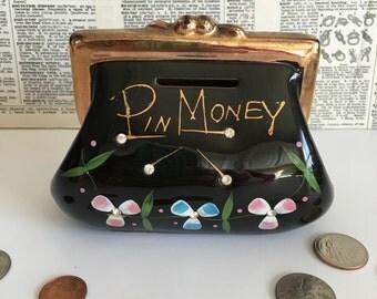 Vintage black Pin Money purse bank