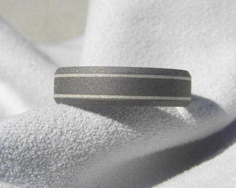 Titanium Ring, Wedding Band, Silver Pinstripe Inlays, Beveled Edge