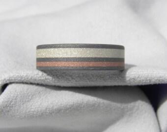 Titanium, Silver and Copper Inlay Ring, Wedding Band, Sandblasted