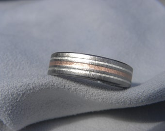 Titanium Silver and Copper Inlay Ring, Wedding Band, Frosted
