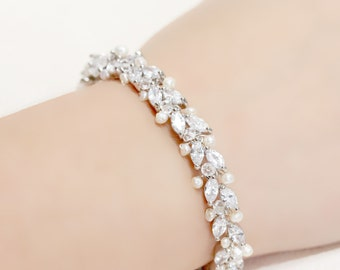 Thin Wedding Jewelry Rhinestone, Freshwater Pearl and Swarovski Crystal Bridal Bracelet