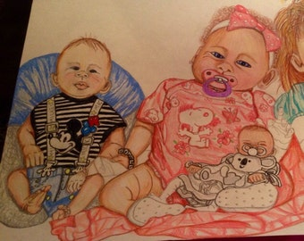 Reborn Baby Portraits On Colored Pencil