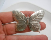 Hair Barrette Large Silver Butterfly on Authentic French Hair Clip Woodland Nature Unique Hair Clip