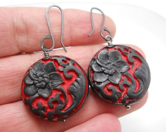 Earrings Dangle Large Carved Cinnabar Style Beads in Black and Red Sterling Silver Ear Wires Oxidized Silver Asian Flamenco Day of the Dead