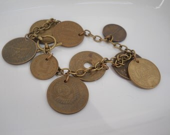 Bracelet Brass Foreign Coin Travel Vintage One of a Kind Charm Handmade Unique Jewelry I Love Travel Gift International Currency Coins