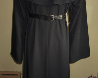 "Ready Made 2-Piece Black Monk Habit with Tunic, Hooded Cowl, 55"" Chest, L/XL"