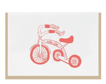 Letterpress 'Little Tike' Greeting Card - Pink or Blue
