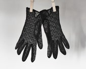 Vintage Gloves, Summer Gloves, Black Sheer Gloves, Black Summer Gloves, Vintage Gloves, Women's Vintage Fashion, Wedding Gloves