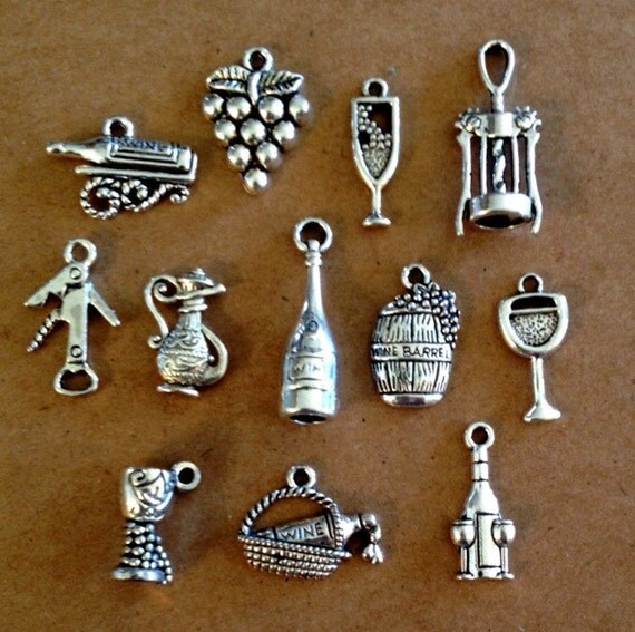 wine lover charm collection 12 different charms antique