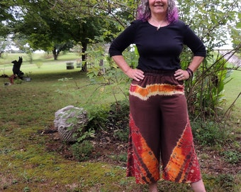 Raw Silk Shibori Wild Wide Leg Pants, Gaucho Pants, Palazzo Pants
