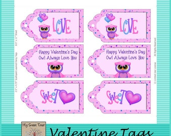 Valentine Owls Tags