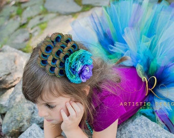 Couture Peacock Tutu Costume Matching Feather Headband Flower Teal Purple Turquoise Outfit Masquerade Ball Toddler Child Pagaent Gown Set
