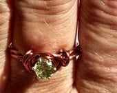 Round Solitaire Green Peridot Gemstone Engagement Wire Wrapped Copper Ring Size 6 Handmade
