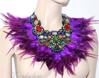 NYMPH fairy purple feathered hand beaded rhinestones jewels neck collar shoulder wrap statement piece high fashion couture