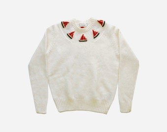 1960's Novelty Sailor Off White Wool Sweater