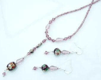 SET - Purple Cloisonné Long Pendant Necklace & Earrings
