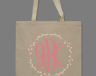 Personalized Monogrammed Tote Bag Beach Bag Bridesmaids Bag Brides Bag