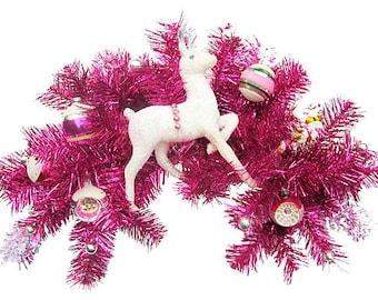 SALE ! White Reindeer Pink Tinsel Swag